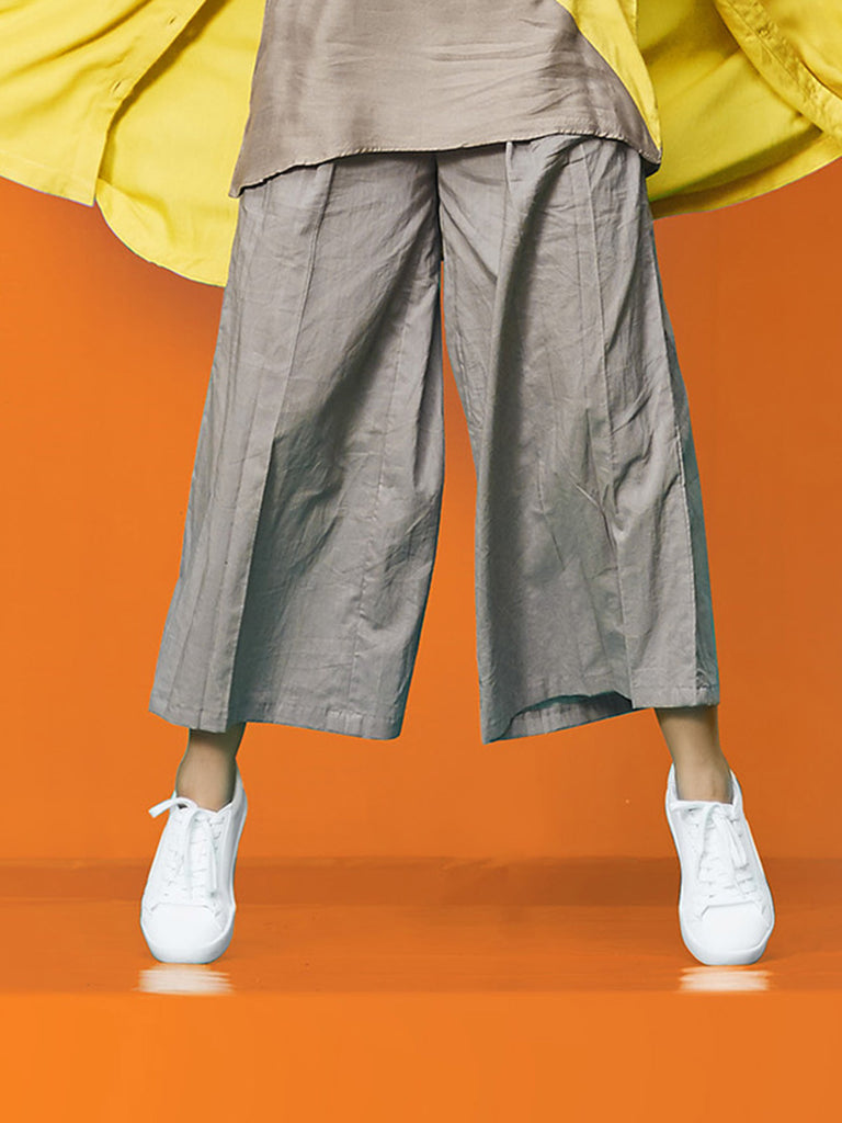 Grey Cotton Rayon Pants