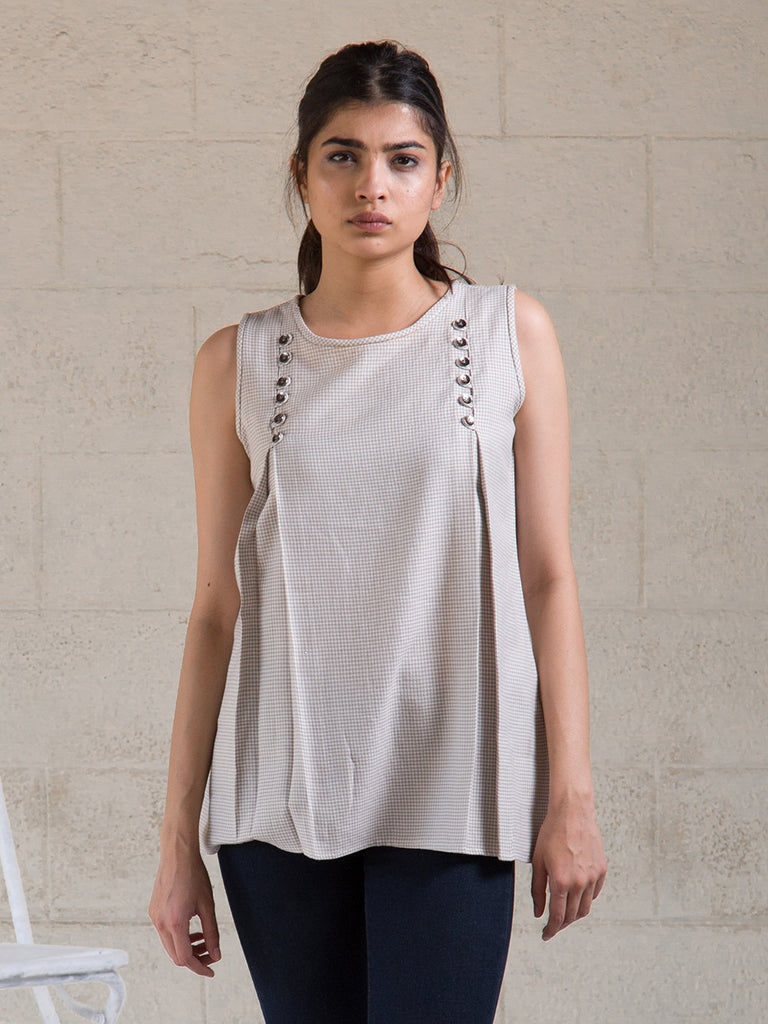 Grey Cotton Sleeveless Top