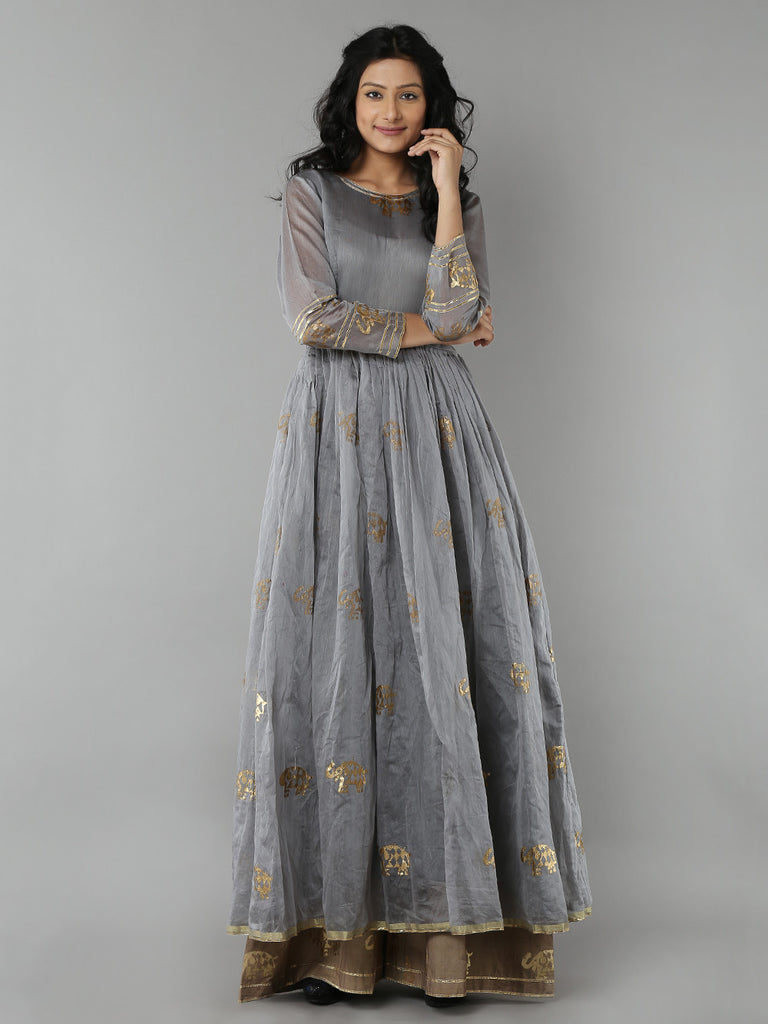 Grey Elephant Printed Chanderi Anarkali with Beige Cotton Palazzo - Set of 2