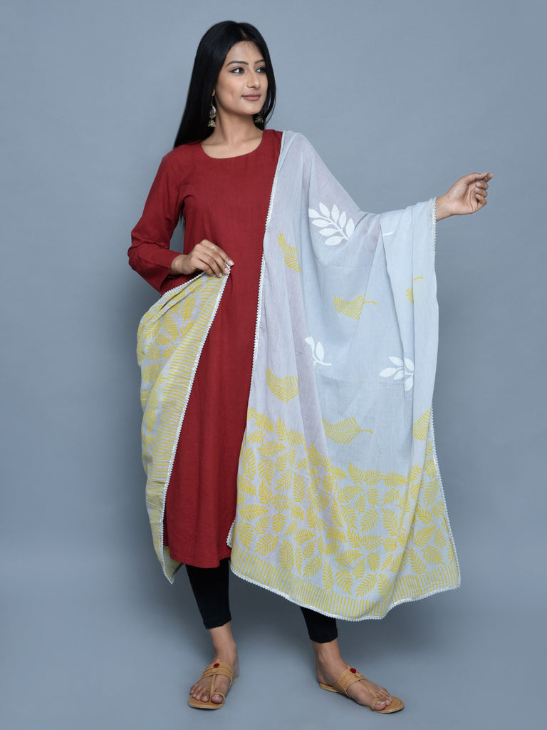 Grey Green Cotton Block Print Dupatta