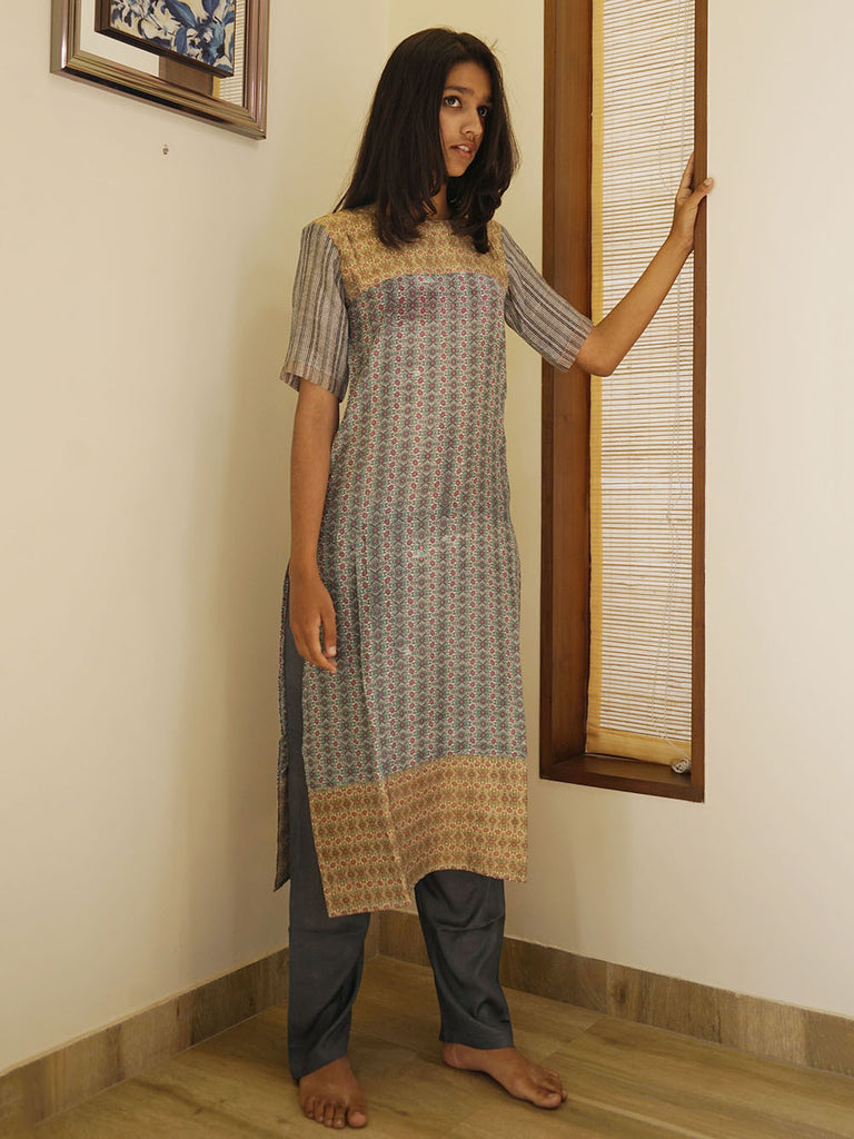 Grey Green Cotton Silk Printed Kurta