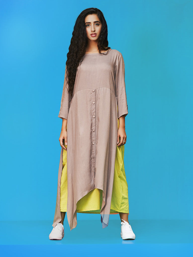 Grey Green Rayon Cotton Kurta Dress