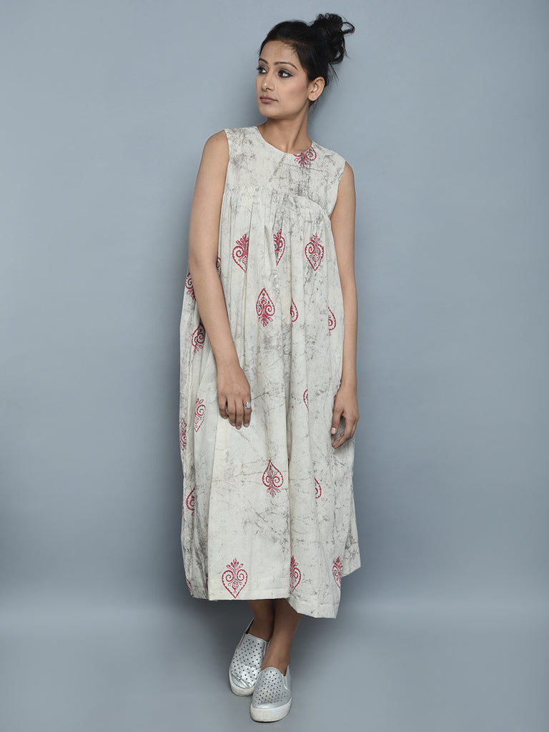 Grey Hand Block Printed Cotton Dress