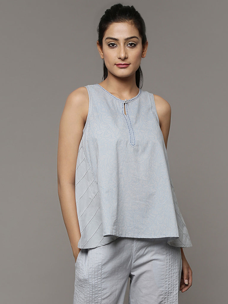 Grey Hand Block Printed Cotton Top