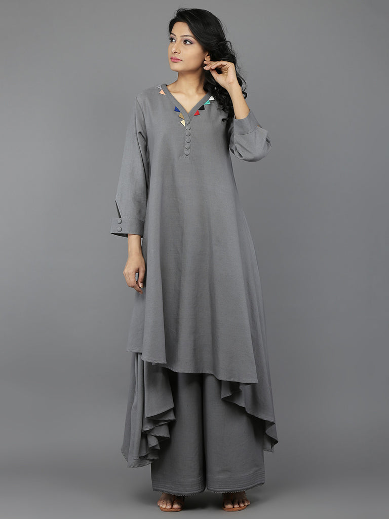 Grey Khadi Palazzo with Quilted Hem