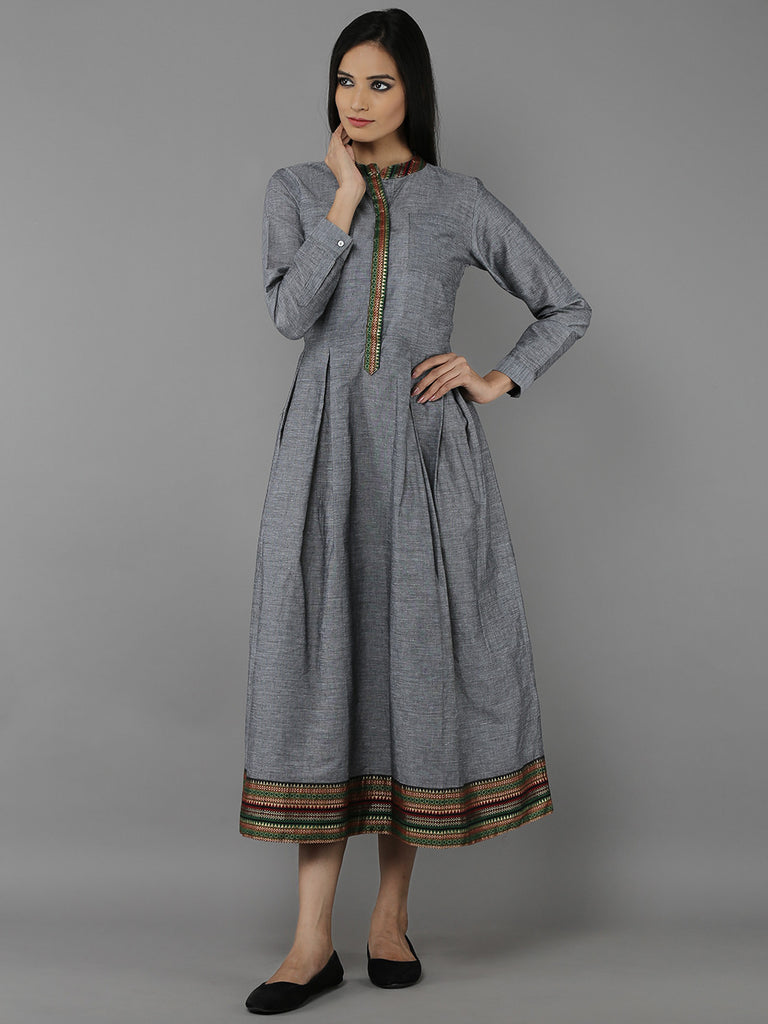Grey Mangalgiri Cotton Pleated Dress