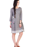Grey Mangalgiri Tunic with Printed Border
