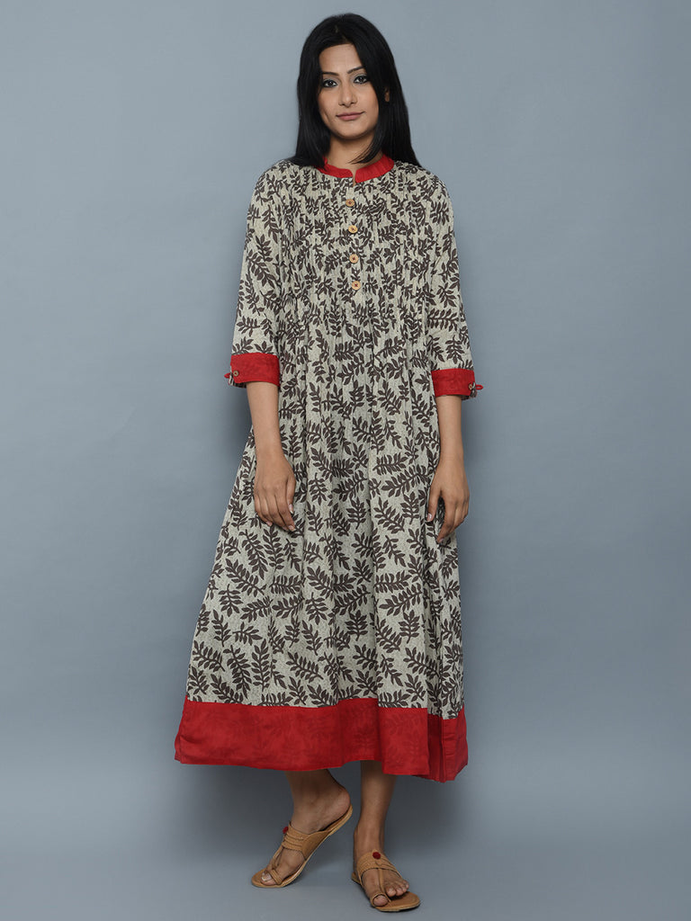 Grey Maroon Printed Cotton Dress