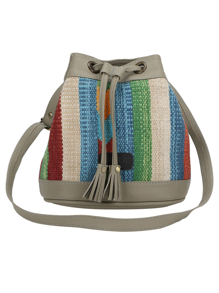 Grey Multi Color Kilim Bucket Bag