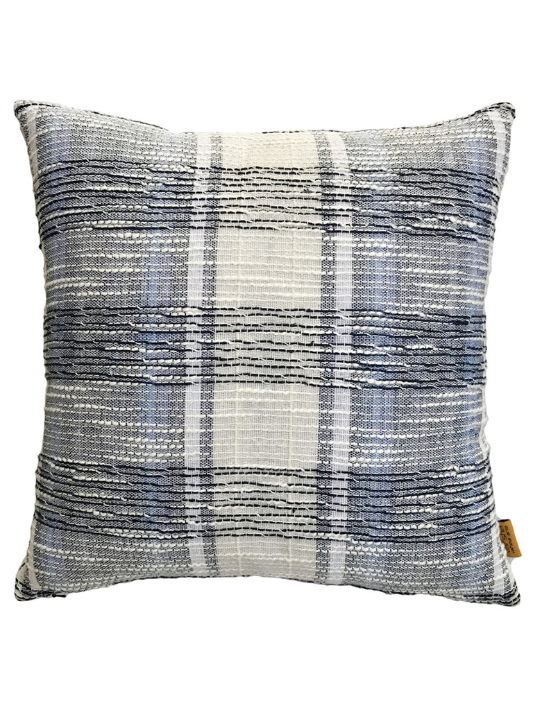 Grey Off White Checked Cotton Weave Cushion Cover