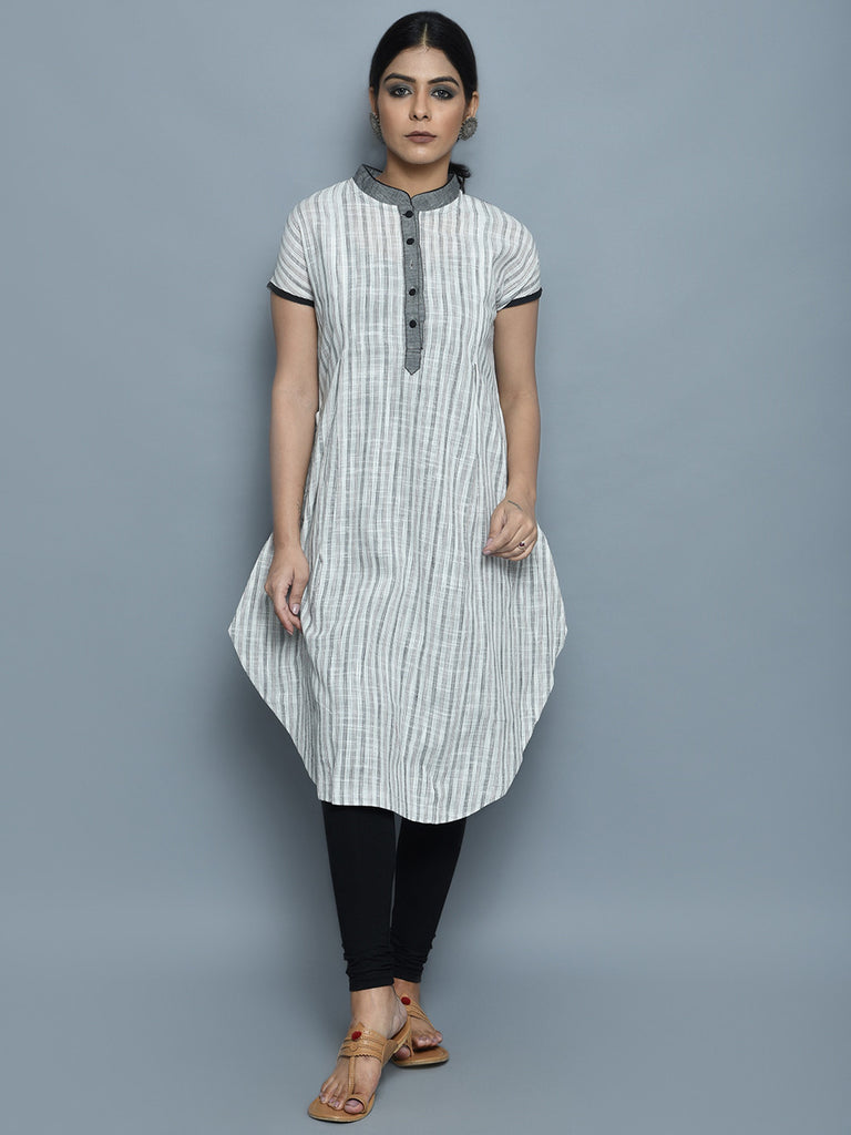 Grey White Cotton Kurta