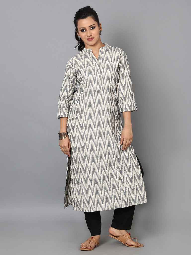 Grey Off White Cotton Ikat Front Pocket Kurta