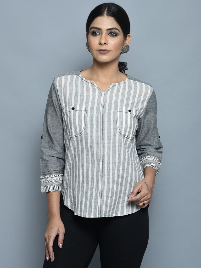 Grey White Cotton Top