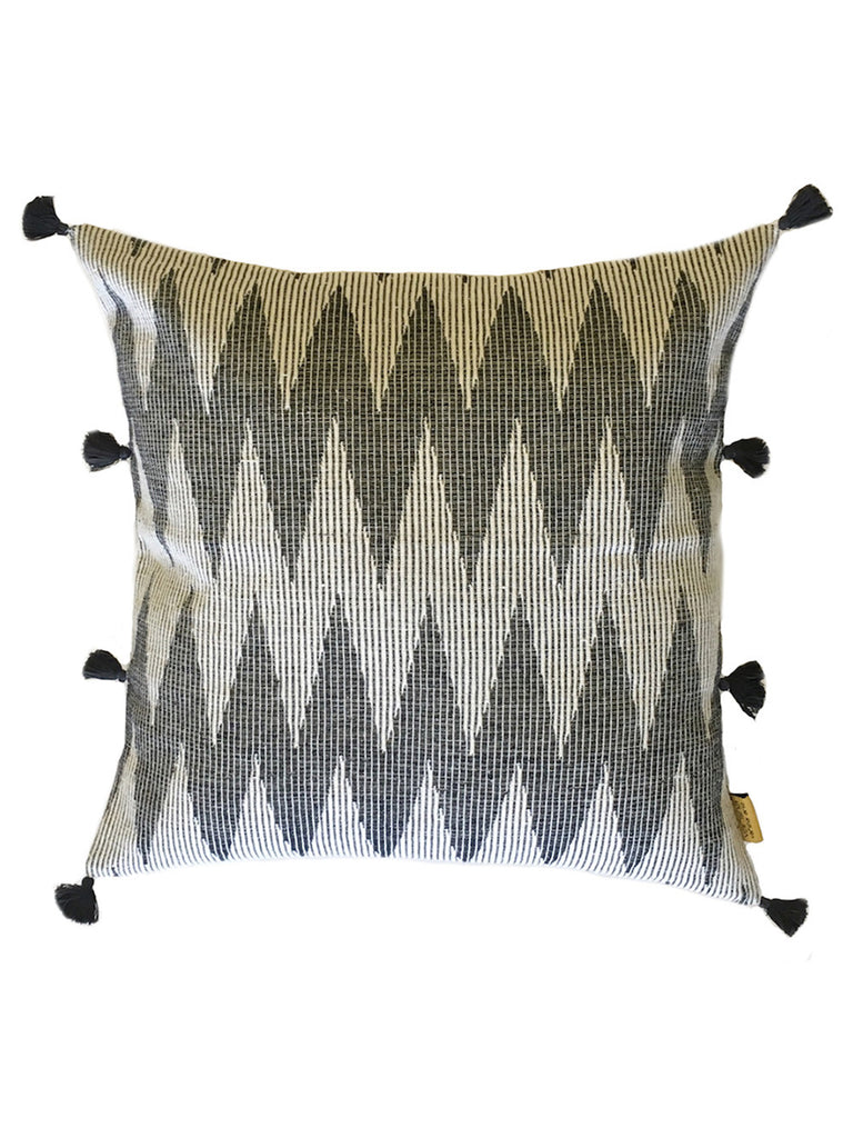 Grey Off White Weave Chevron Ikat Cushion Cover