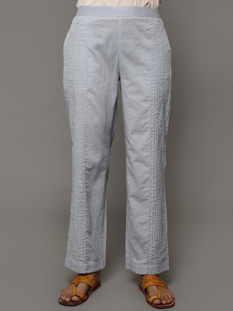 Grey Pin Tuck Cotton Pants