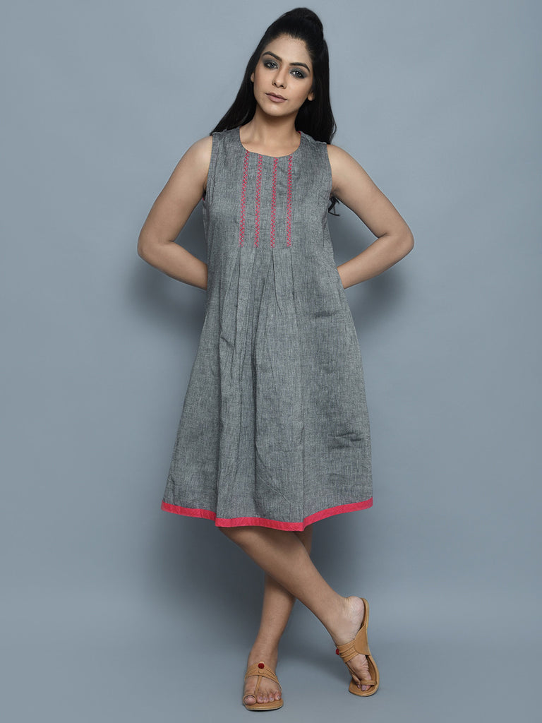 Grey Pink Cotton Dress