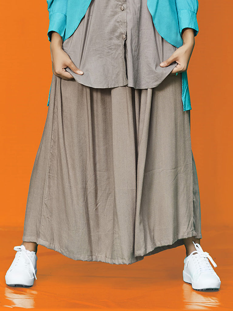 Grey Rayon Cotton Gathered Skirt