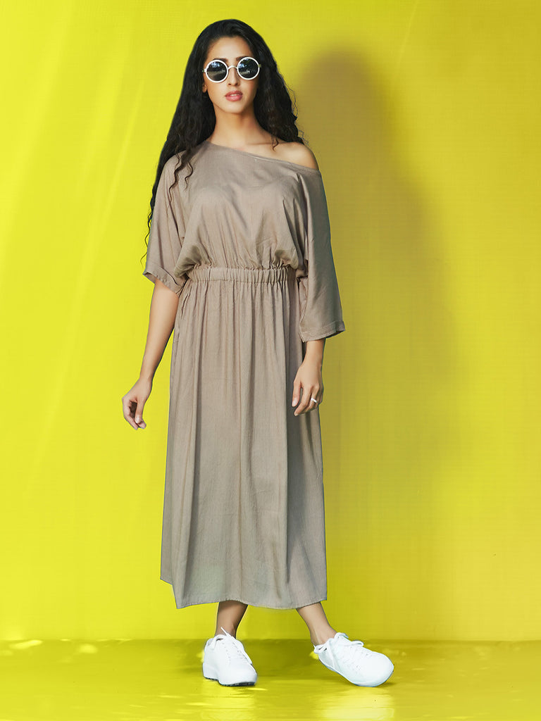 Grey Rayon Cotton One Shoulder Midi