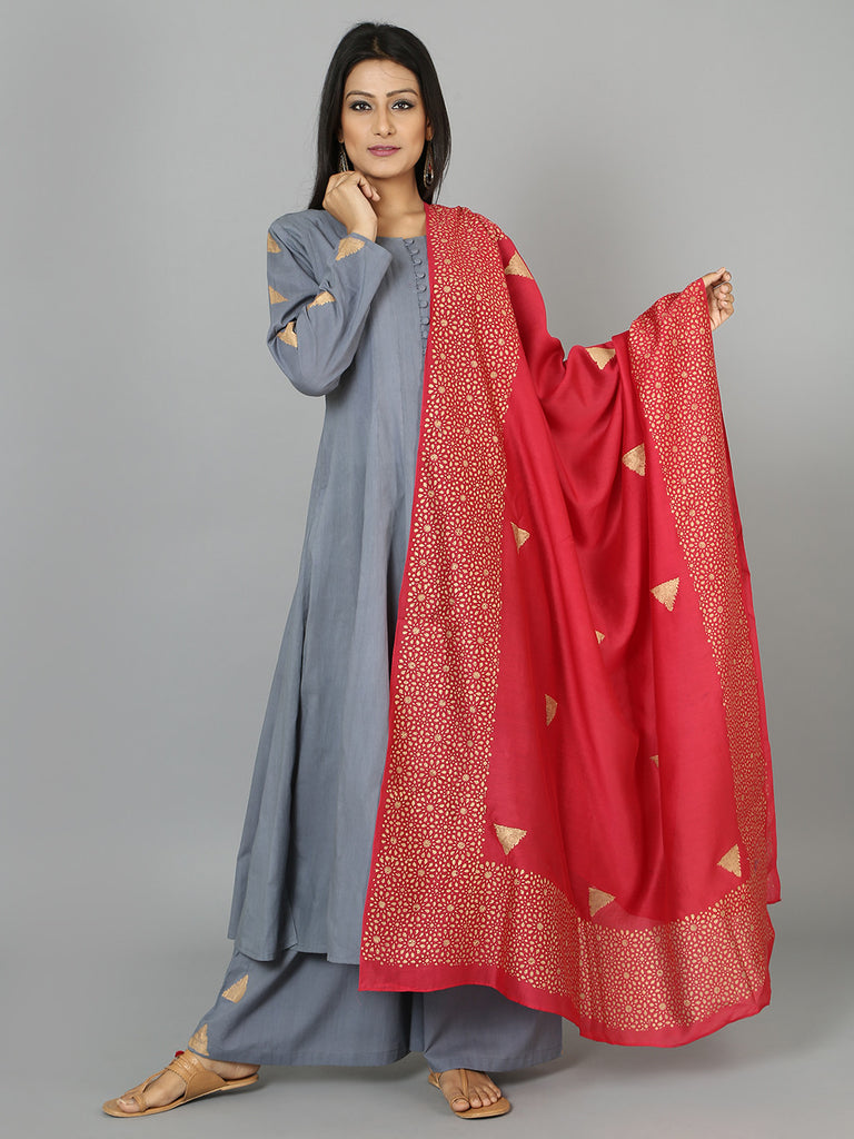 Grey Red Triangle Cotton Anarkali Suit  - Set of 3
