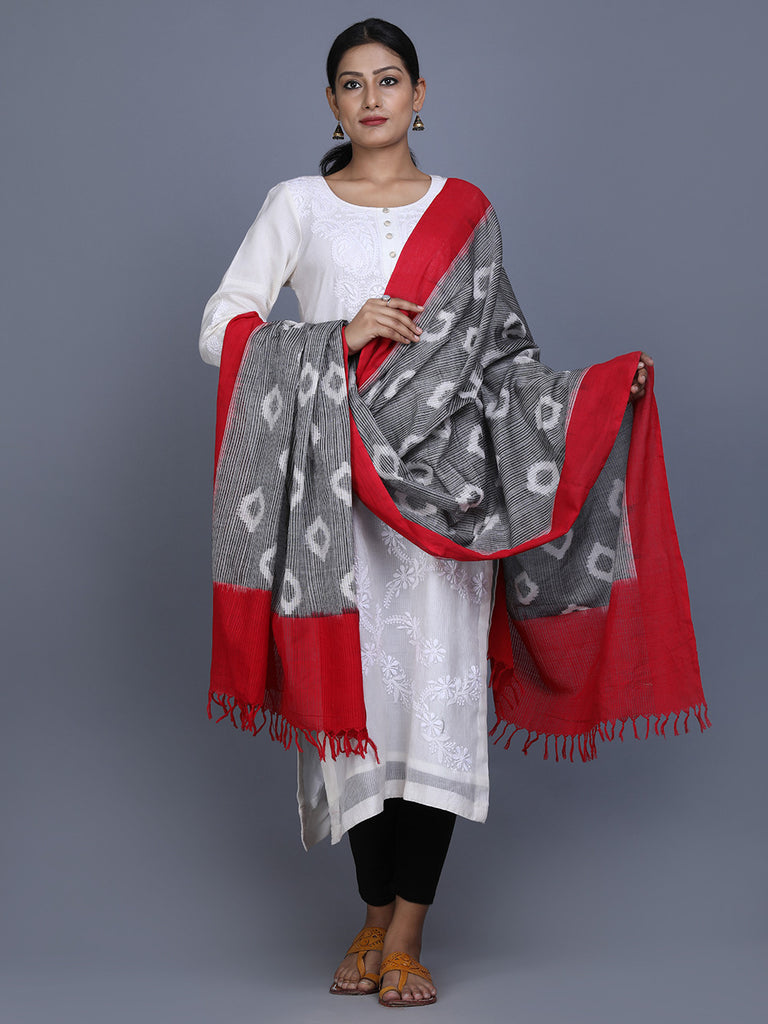 Grey Red Cotton Ikat Dupatta