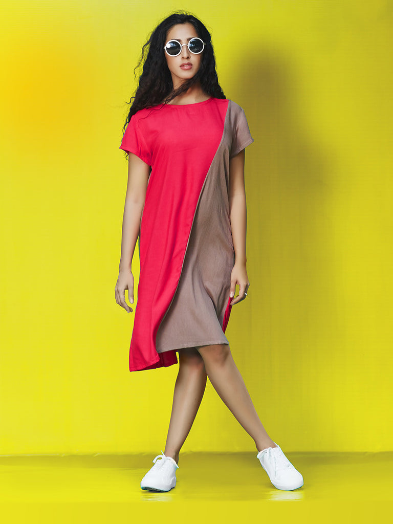 Grey Red Rayon Cotton Midi Dress