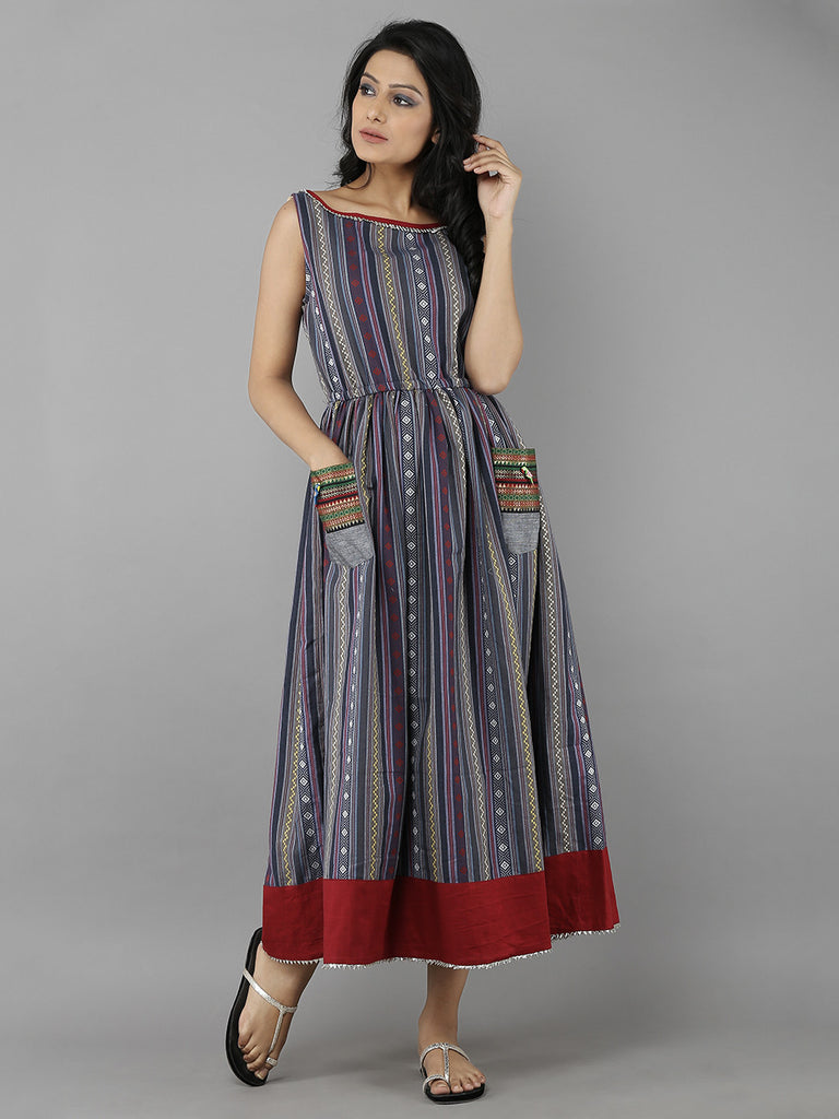 Grey Red Handloom Cotton Dress
