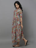 Grey Rose Cotton Maxi Dress
