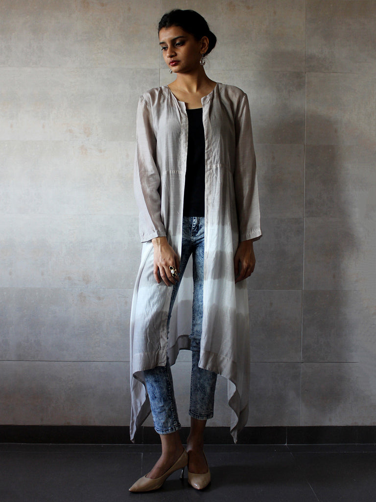 Grey Cotton Silk Batik Cape