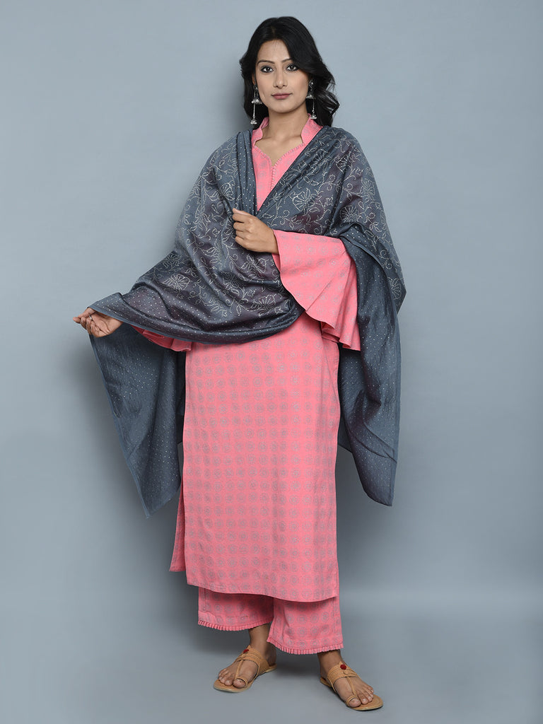 Pink Block Printed Khadi Kurta and Pants with Grey Chanderi Dupatta - Set of 3