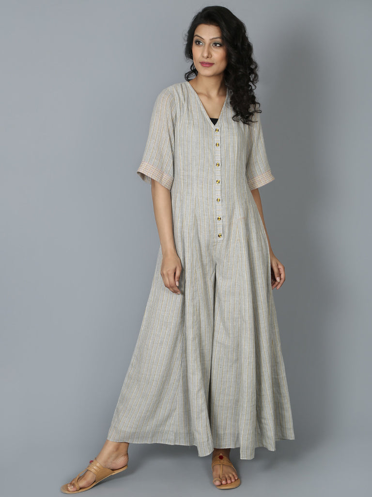 Grey Striped Cotton Jumpsuit