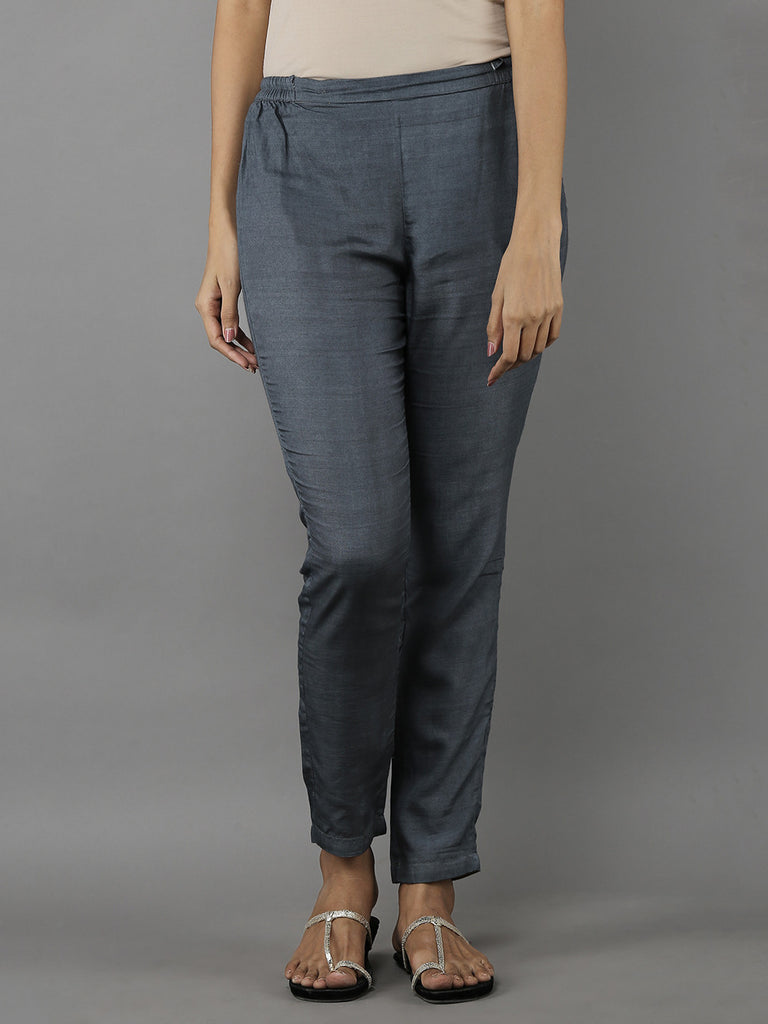 Grey Tussar Cotton Trousers