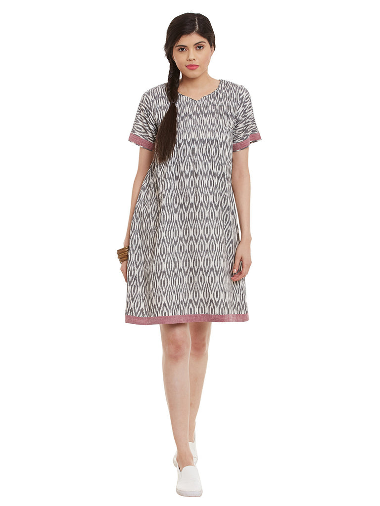 Grey White Cotton Ikat Dress