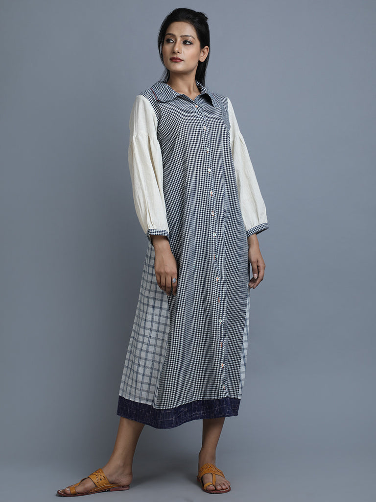 Grey White Khadi Shirt Dress
