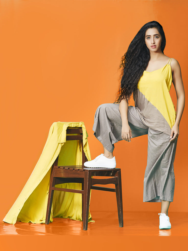 Grey Yellow Rayon Cotton Cotton Top
