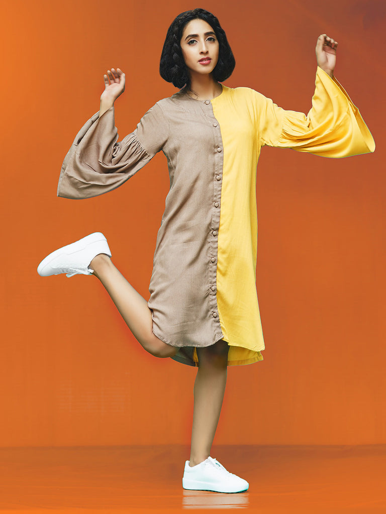 Grey Yellow Rayon Cotton Midi