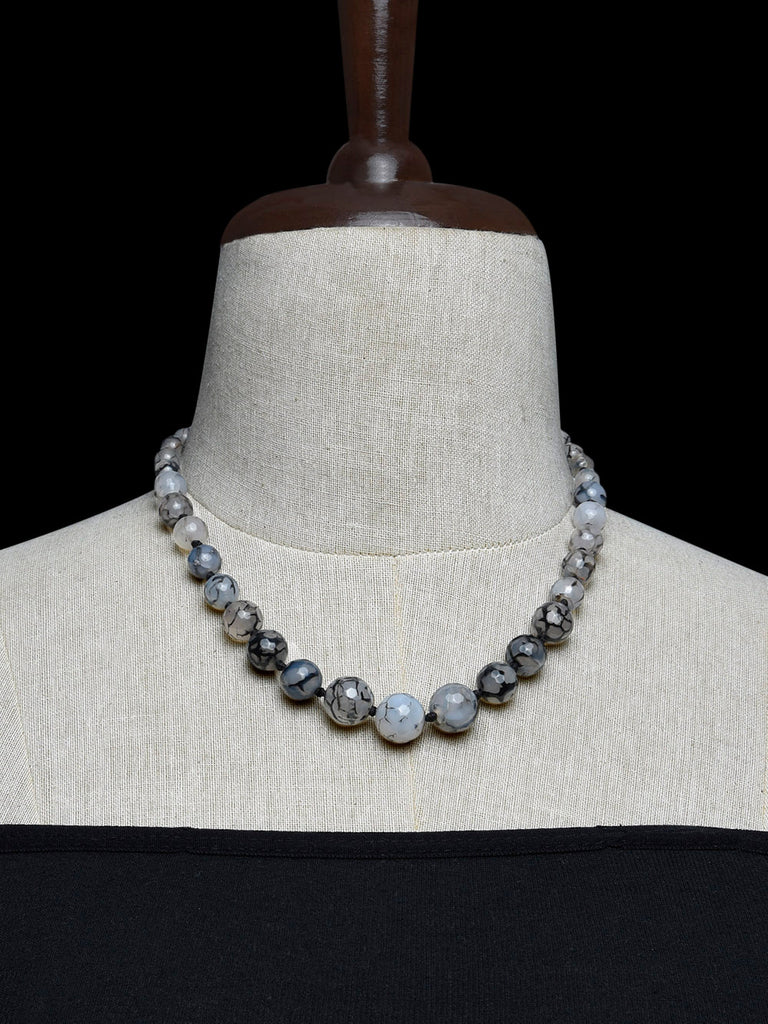 Grey Black Handcrafted Agate Stones Necklace