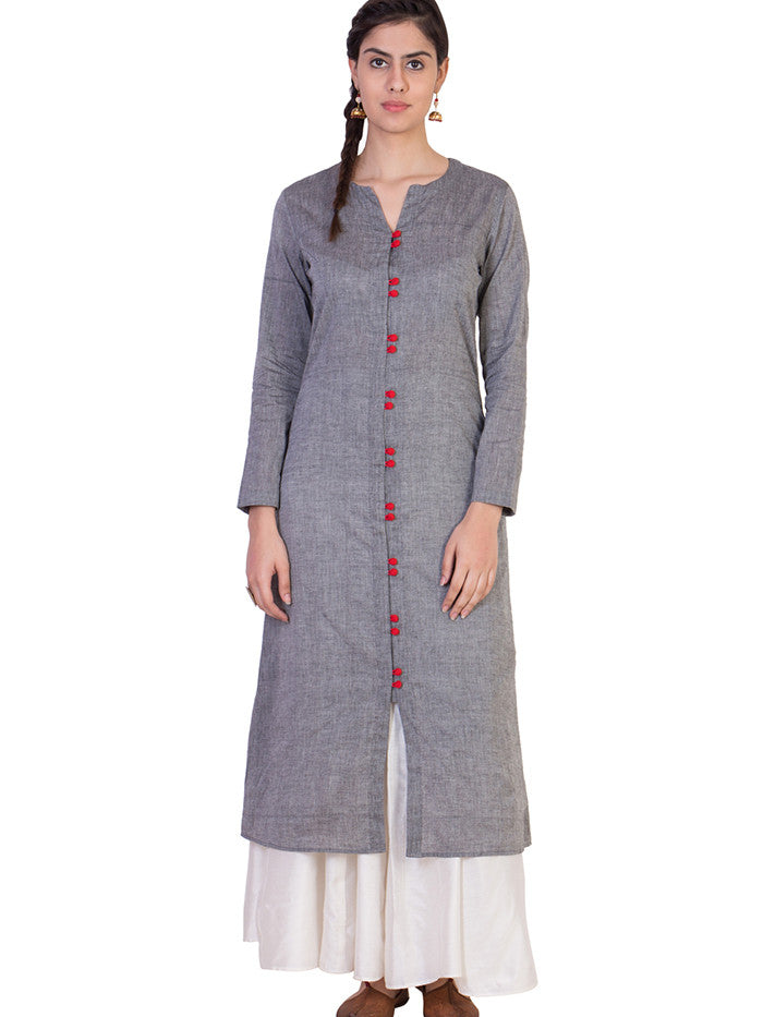 Grey Mangalgiri Cotton Tunic with White Skirt - Set of 2