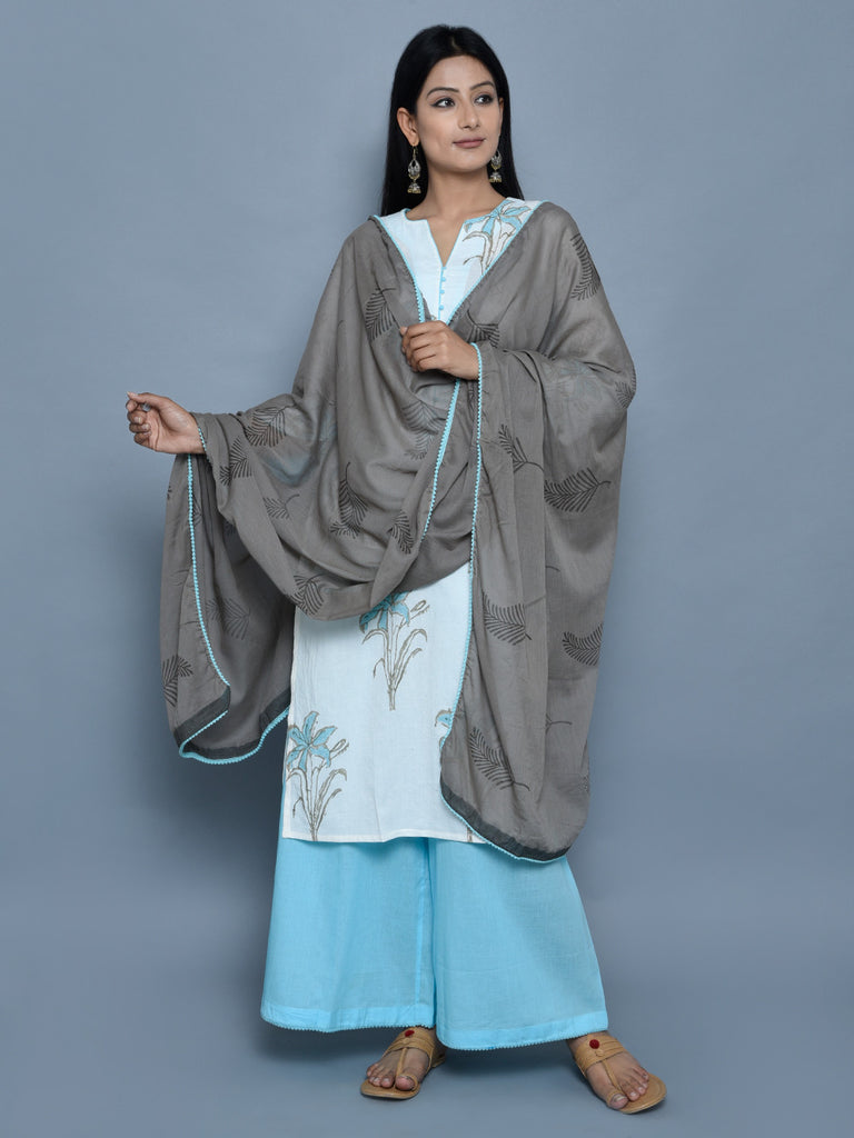 Grey Cotton Block Printed Dupatta with Blue Lace