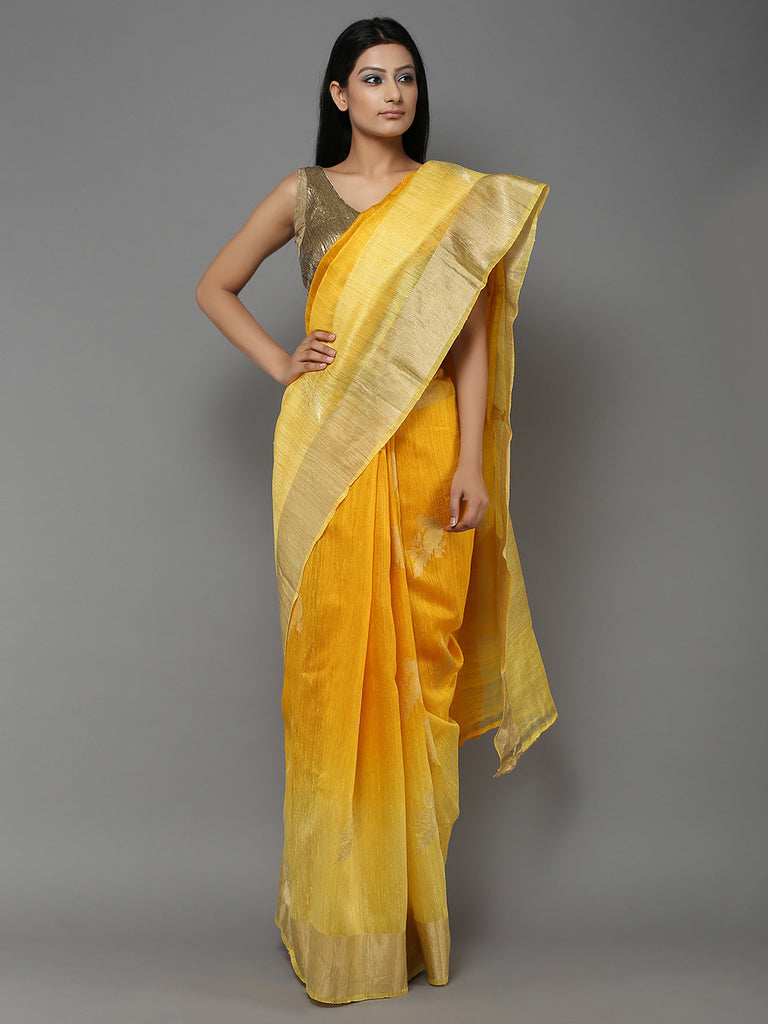 Haldi Yellow Handwoven Banarasi Dupion Silk Saree