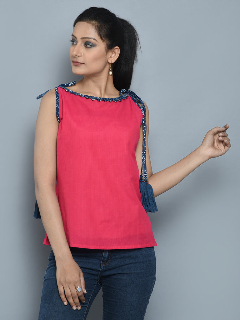 Hot Pink Blue Cotton Cambric Tassel Top