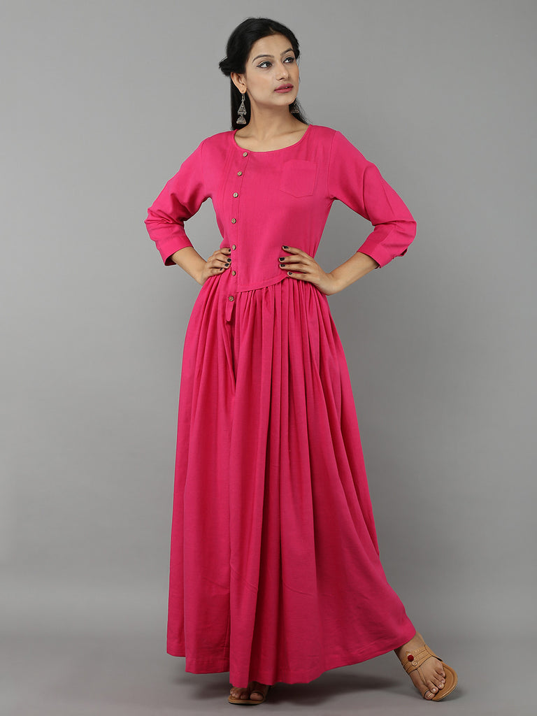 Hot Pink Khadi Dress with Gathers
