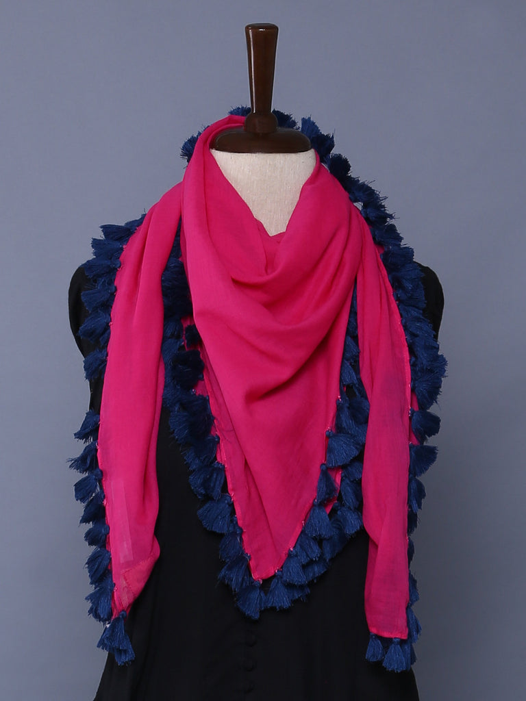 Hot Pink Navy Cotton Mulmul Square Scarf with Tassels