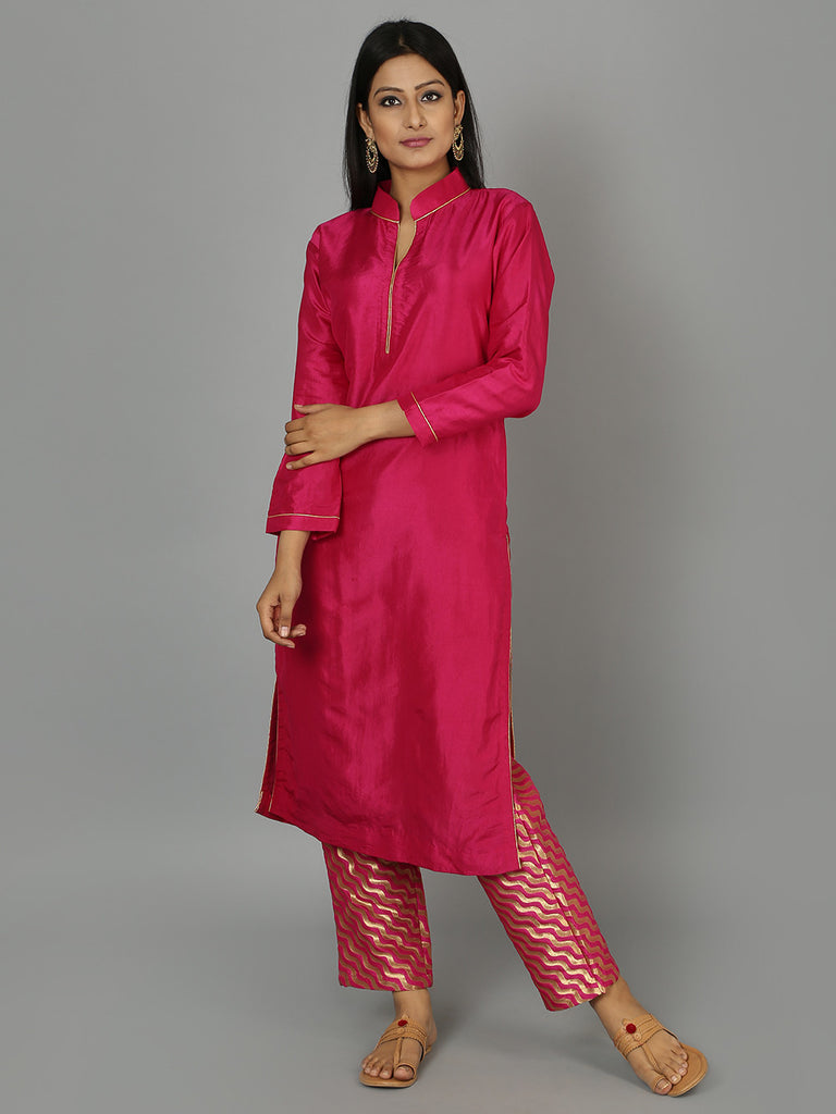 Hot Pink Silk Kurta with Pants - Set of 2