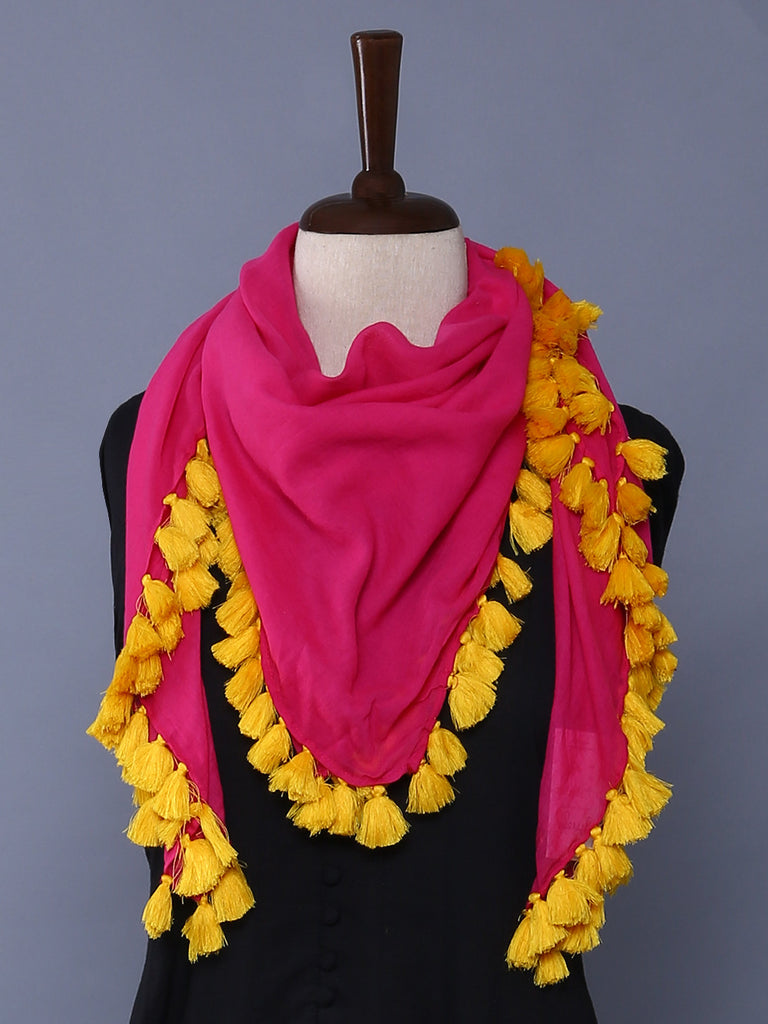 Hot Pink Yellow Cotton Mulmul Square Scarf with Tassels
