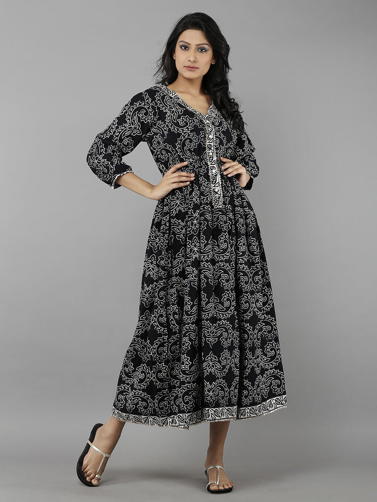 Black Grey Hand Block Printed Cotton Dress