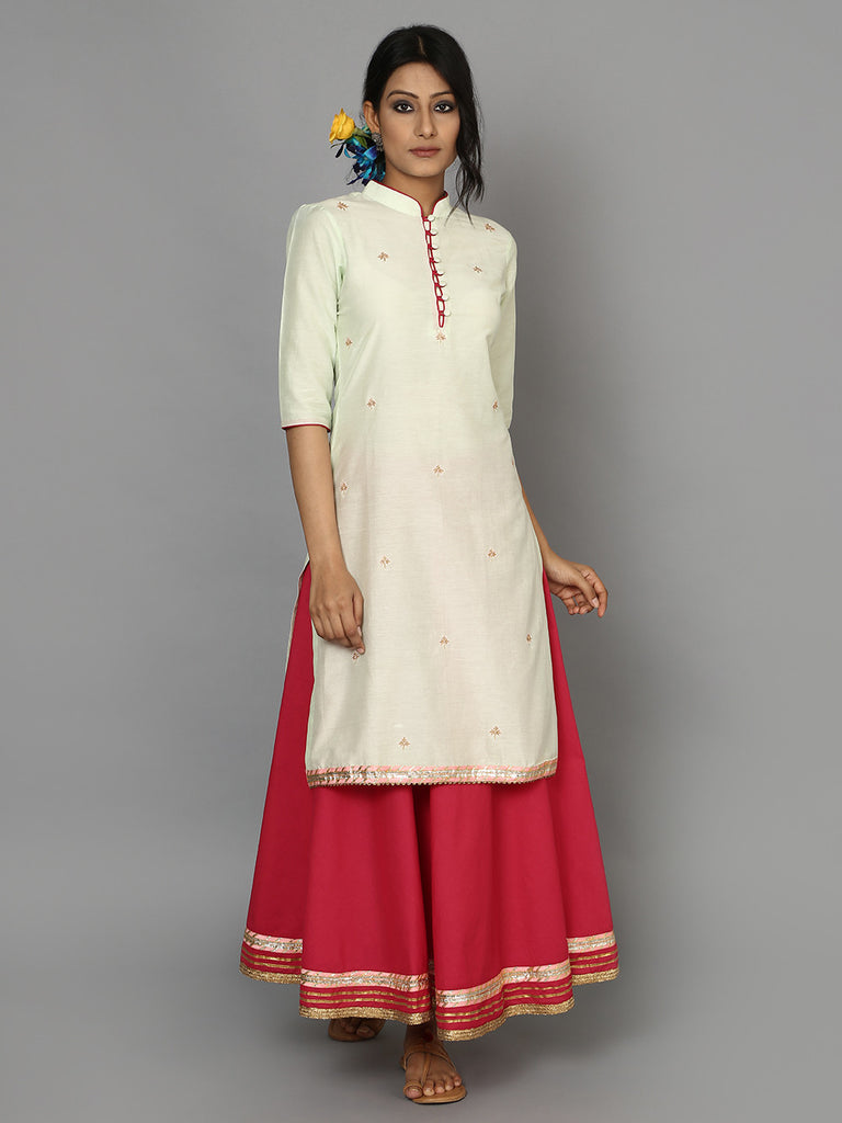 Mint Green Cotton Silk Kurta