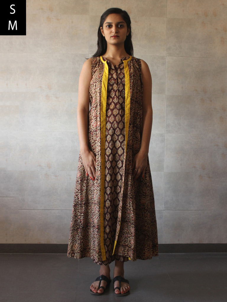 Brown Printed Cotton Mul Cape