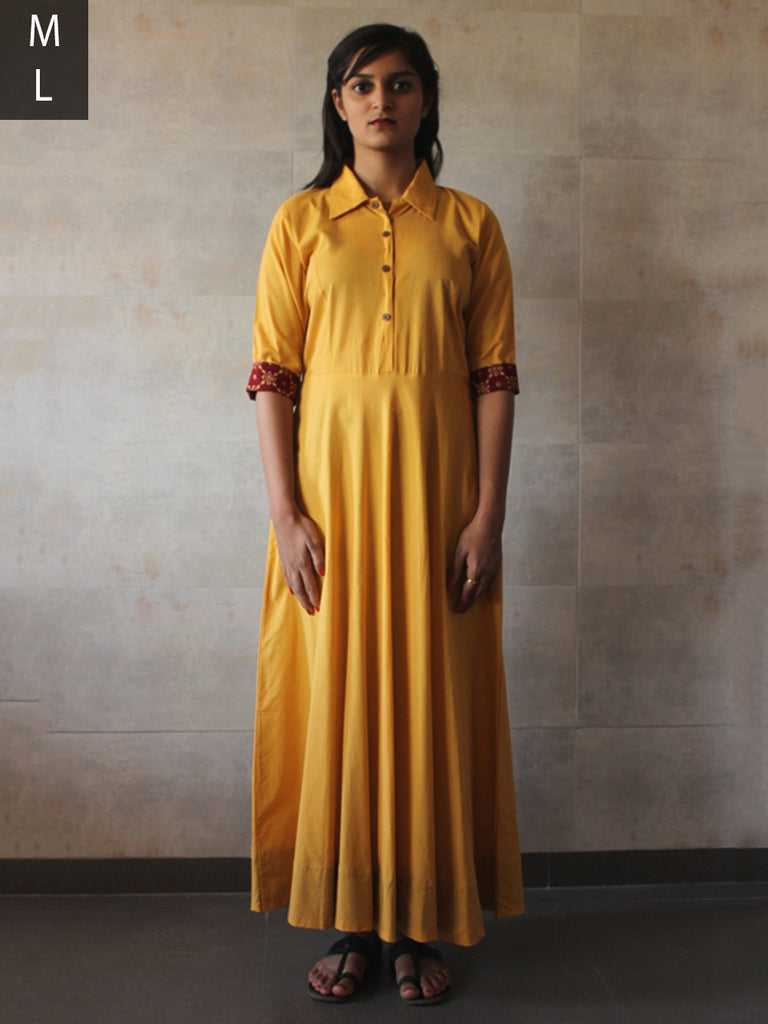 Yellow Cotton Mul Shirt Dress