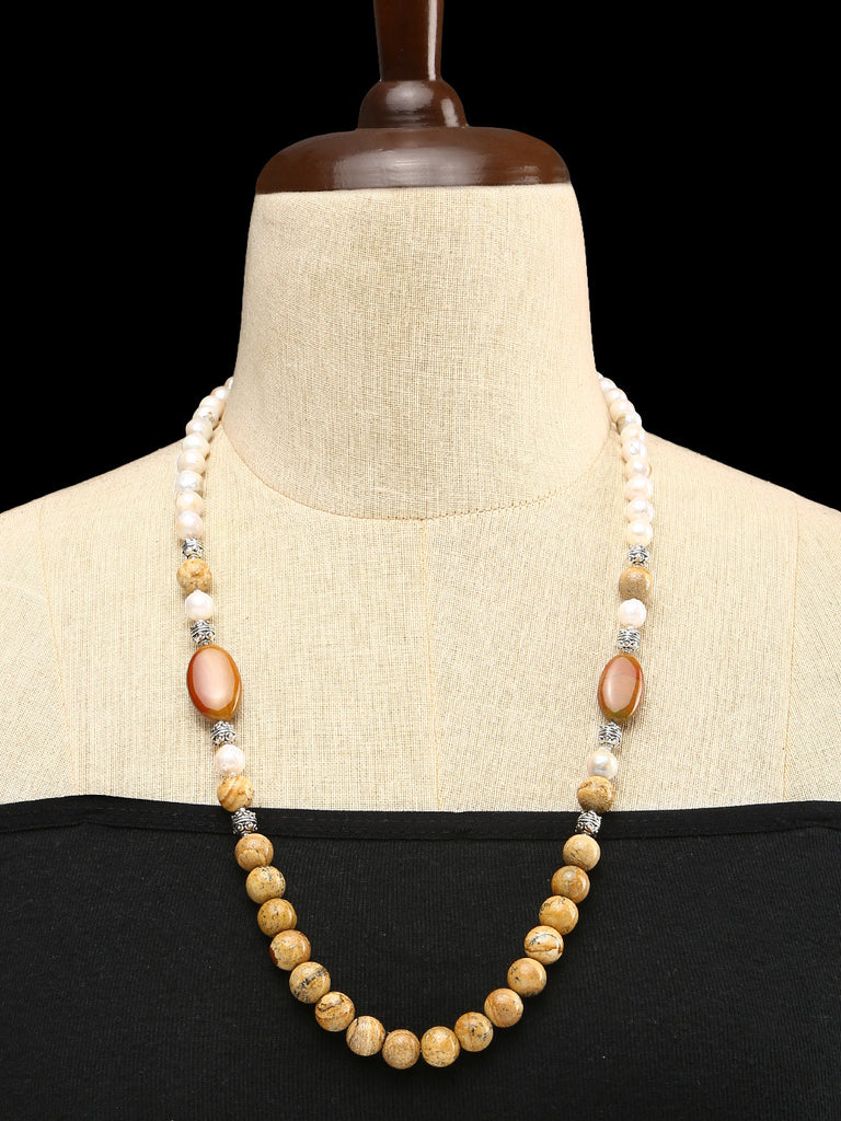 Petrified Stone, Jasper and Baroque Pearls with GS Beads Single Strand Necklace