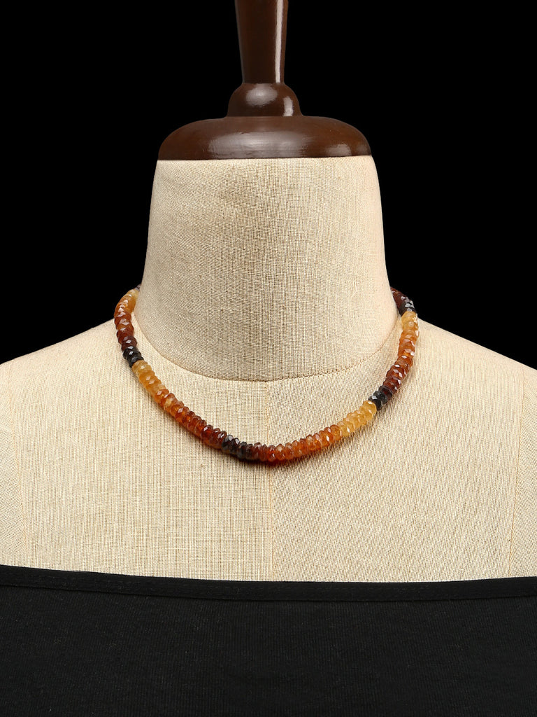 Shaded Hessonite Garnet Single Strand Necklace